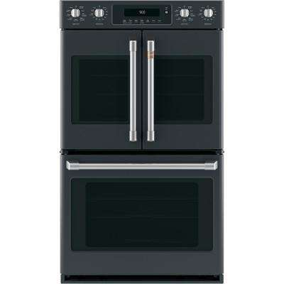 30 in. Double Electric Wall Oven with Convection Steam-Cleaning in Matte Black, Fingerprint Resistant