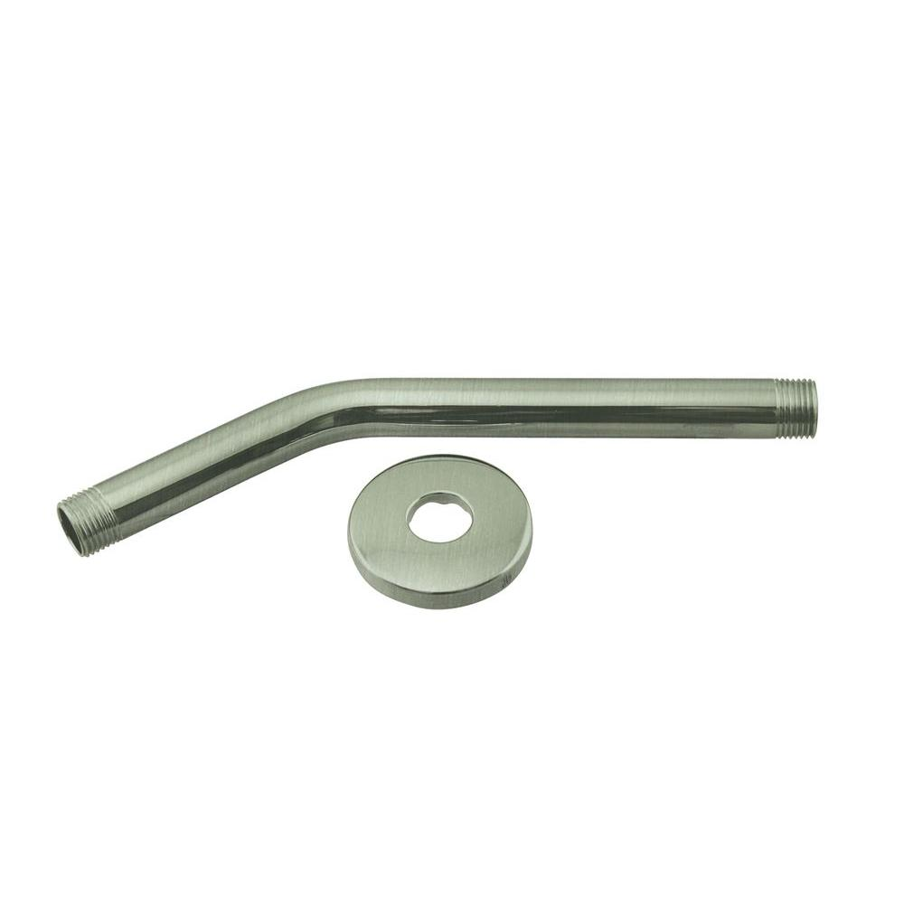Westbrass 1/2 in. IPS x 10 in. Shower Arm with Flange, Satin Nickel
