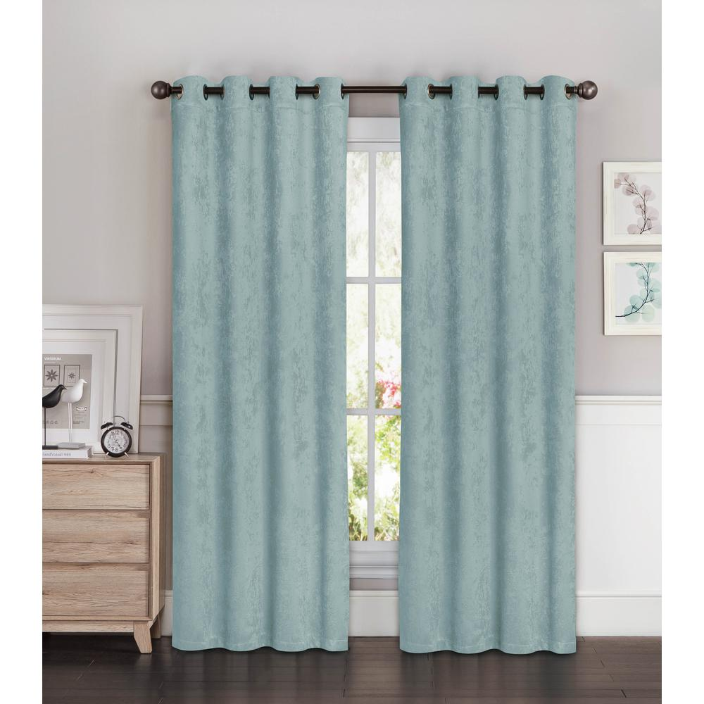 Bella Luna Blackout Faux Suede Extra Wide 96 in. L Room Darkening Grommet Curtain Panel Pair in Aqua (Set of 2)