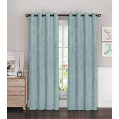 Blackout Faux Suede Extra Wide 96 in. L Room Darkening Grommet Curtain Panel Pair in Aqua (Set of 2)