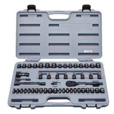 3/8 in. Drive SAE and Metric Socket Set with Ratchet (50-Piece)