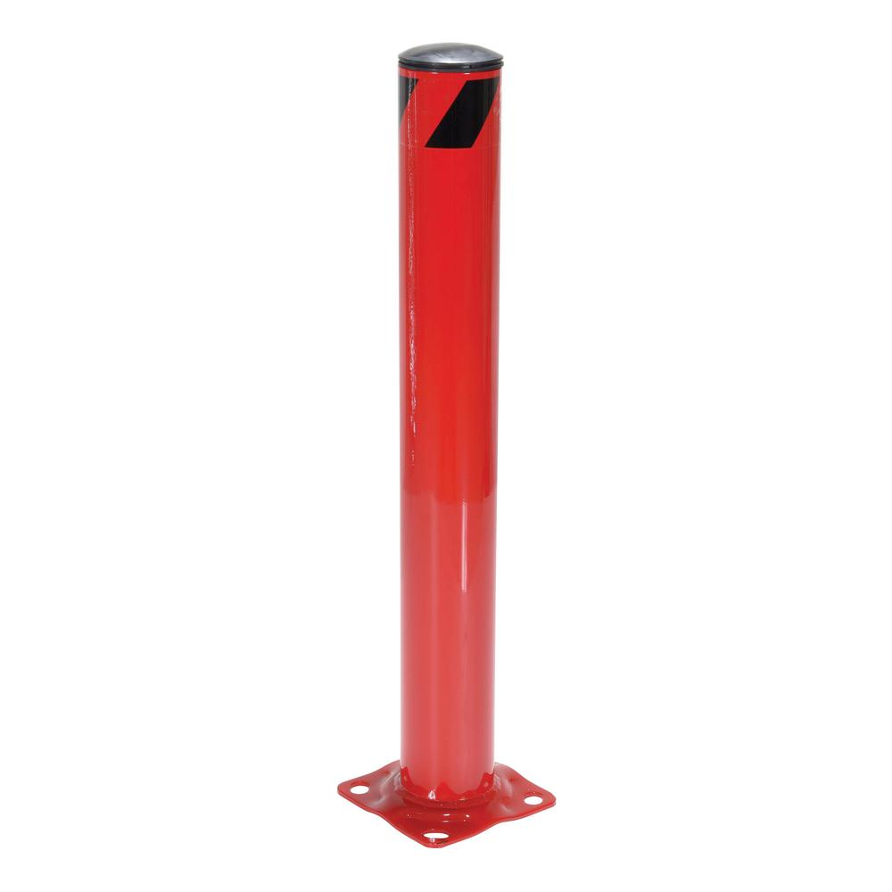 36 in x 4.5 in. Red Steel Pipe Safety Bollard