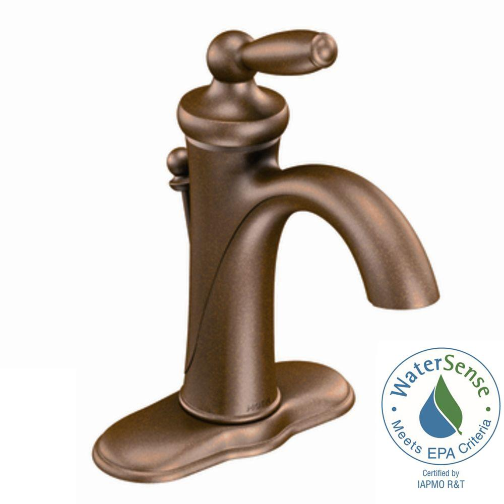 Moen Brantford Single Hole Handle Low Arc Bathroom Faucet In Oil Rubbed Bronze