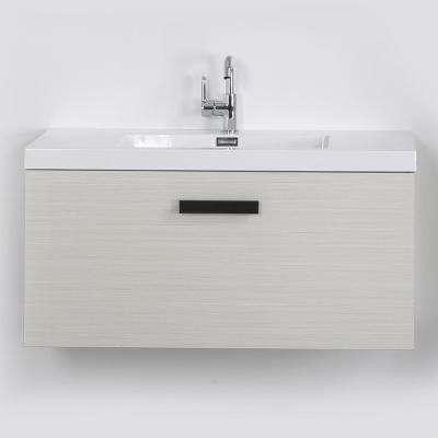 39.4 in. W x 18.3 in. H Bath Vanity in Gray with Resin Vanity Top in White with White Basin