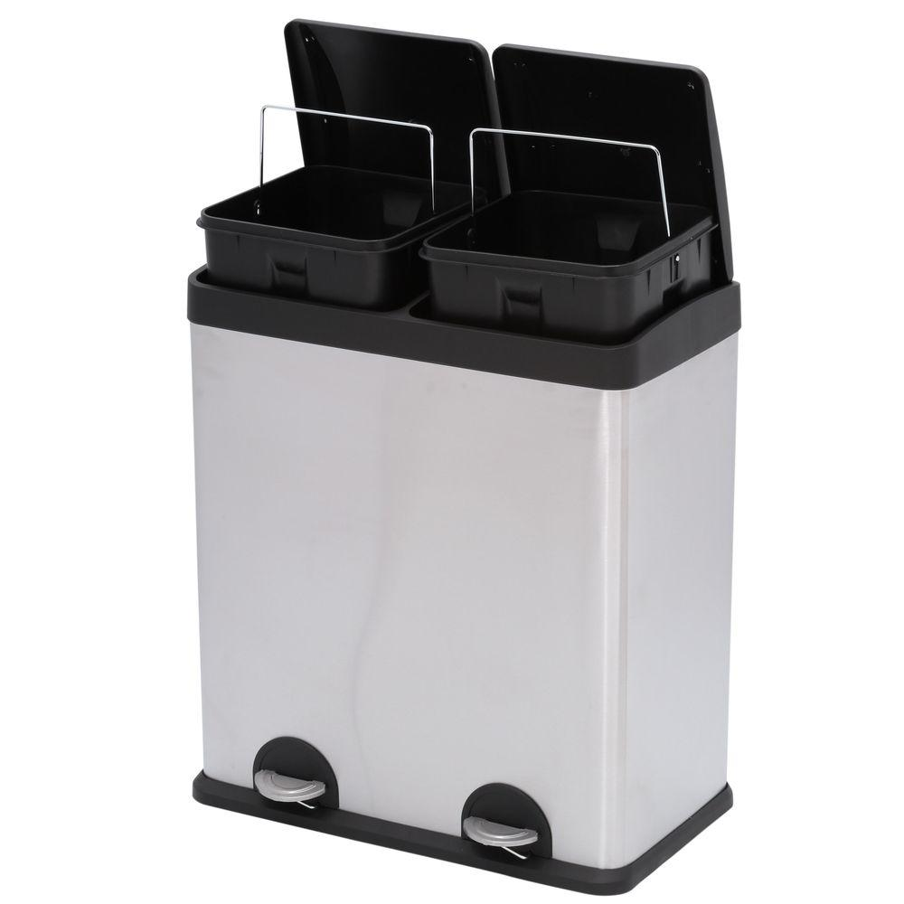 Step N\' Sort 16-Gal. 2-Compartment Stainless Steel Trash Can and ...