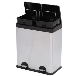 Step N Sort 16 Gal 2 Compartment Stainless Steel Trash