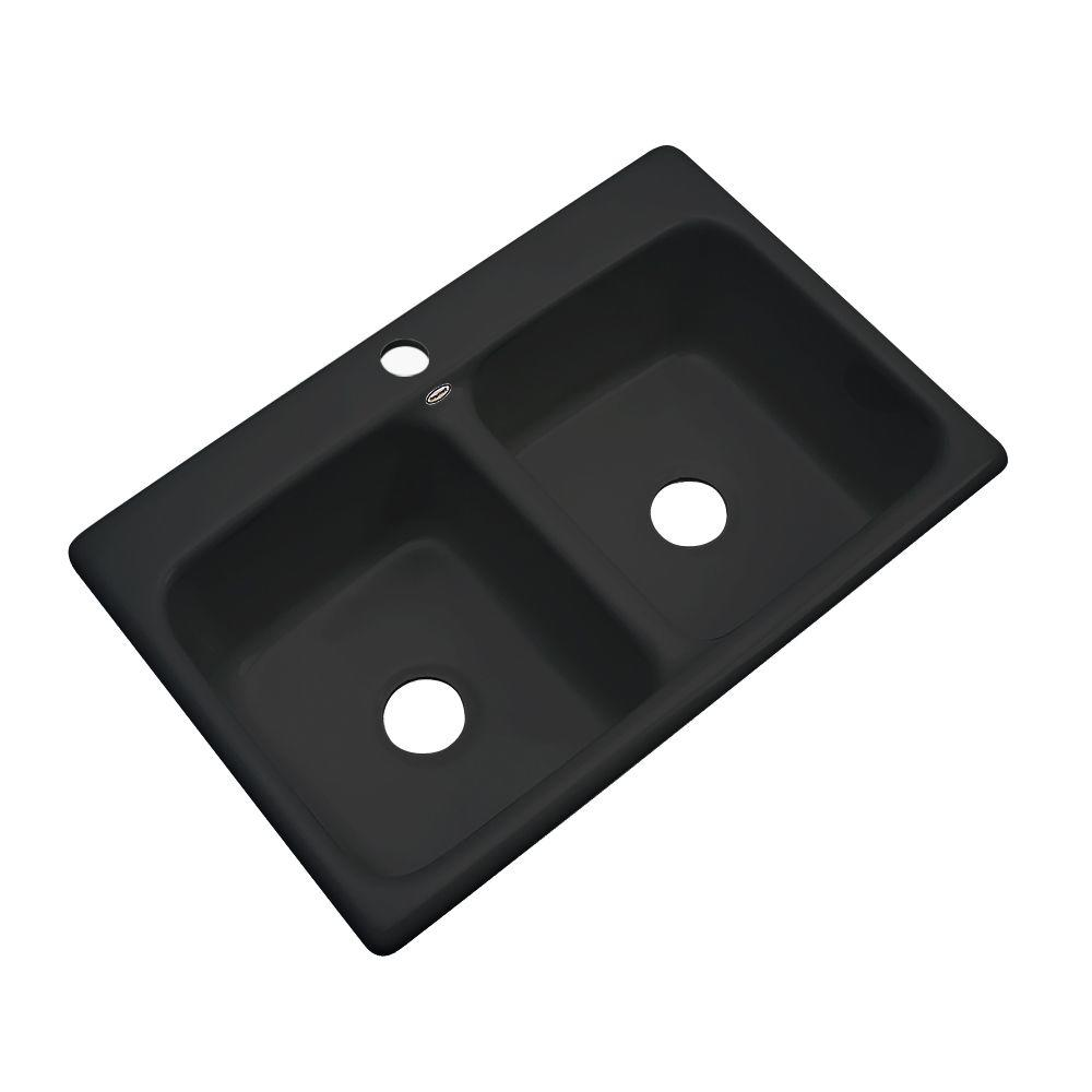 Thermocast Newport Drop-In Acrylic 33 in. 1-Hole Double Bowl Kitchen Sink in Black