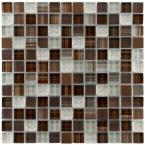 Tessera Square Truffle 11-5/8 in. x 11-5/8 in. x 8 mm Glass and Metal Mosaic Tile