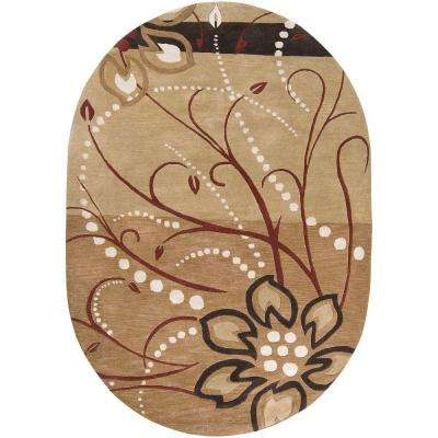 Fremont Tan Wool 6 ft. x 9 ft. Oval Area Rug