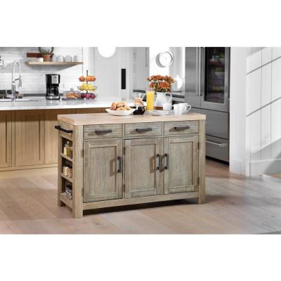 Cocina Kitchen Island Grey Wash with Wood Top and Frame