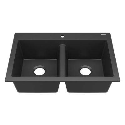 Whitney Drop-In Granite 33 in. Composite 1-Hole 50/50 Double Bowl Kitchen Sink in Charcoal Matte Black