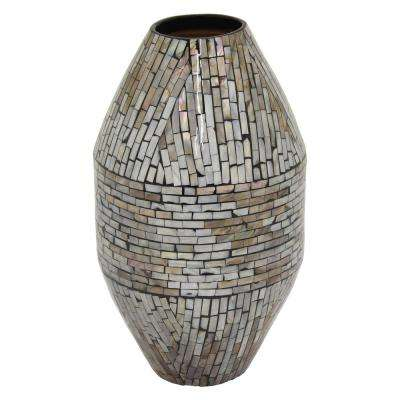 14.5 in. Gray Lacquer Vase with Mop Inlay