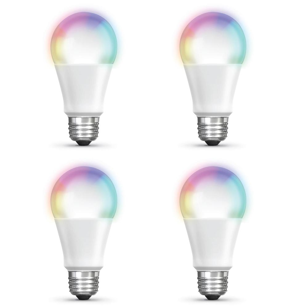 Feit Electric 60-Watt Equivalent A19 Dimmable Full Color Changing Bluetooth Apple HomeKit LED Smart Light Bulb (4-Pack)
