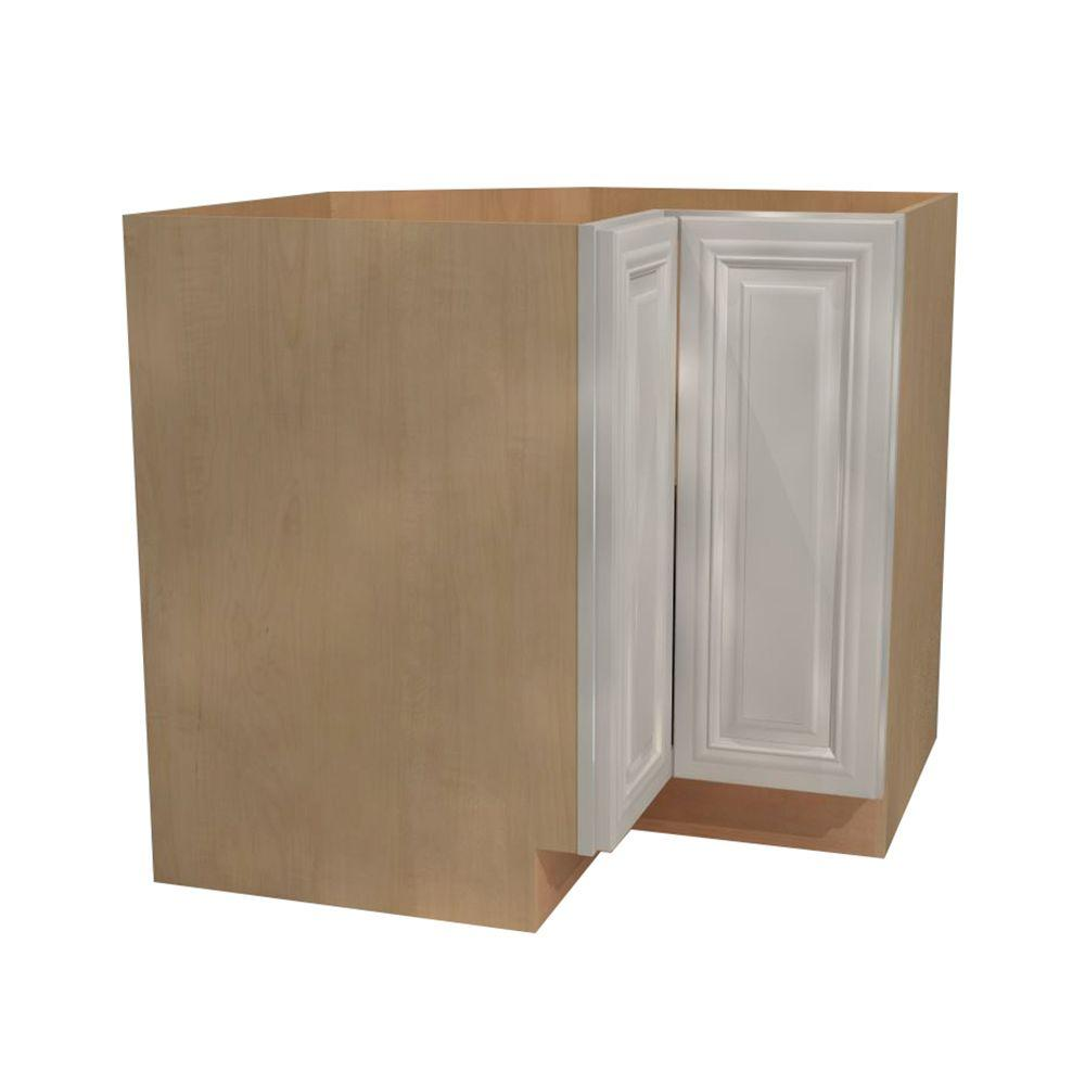 Home Decorators Collection Coventry Assembled 36x34.5x24 in. Easy Reach  Hinge Right Base Kitchen Corner Cabinet in Pacific White