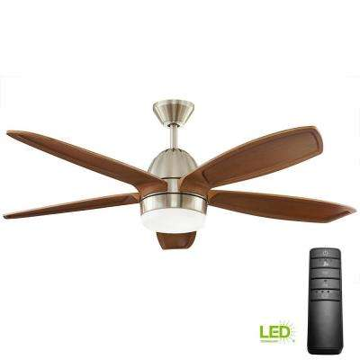 Integrated Led Indoor Brushed Nickel Ceiling Fan With Light Kit And
