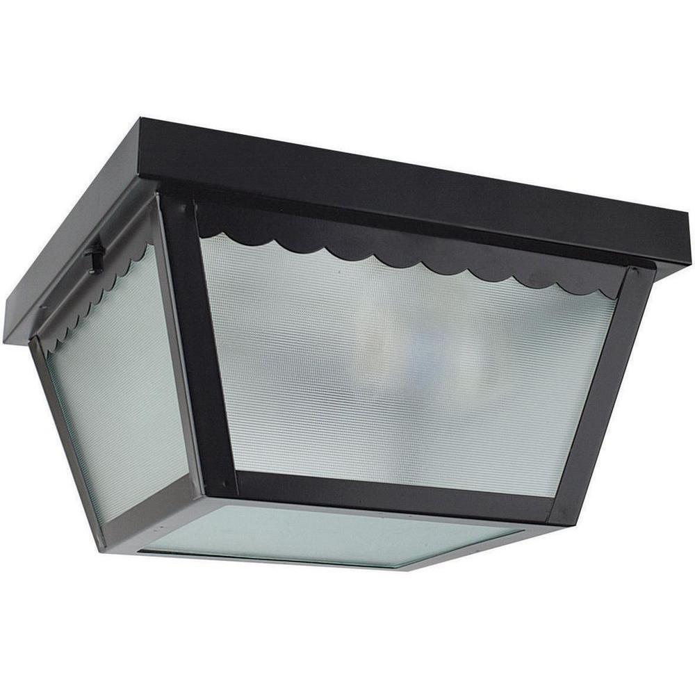 Sunset lighting lacovelli 1 light black outdoor flush - Exterior surface mounted light fixtures ...