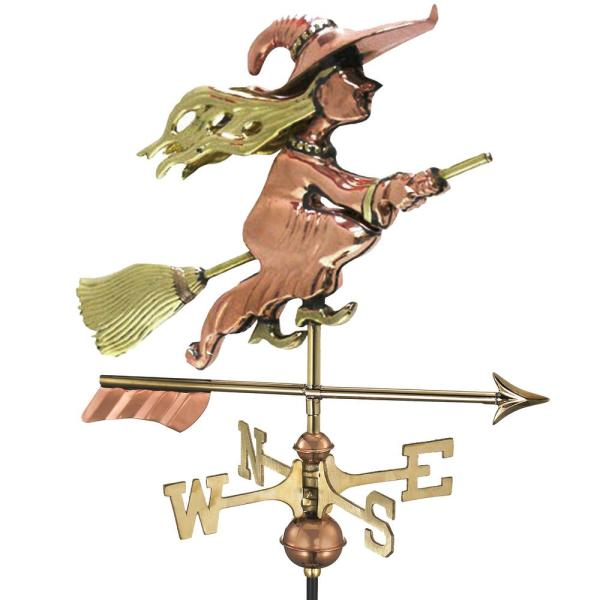 Witch with Arrow Cottage Weathervane-Pure Copper with Roof Mount