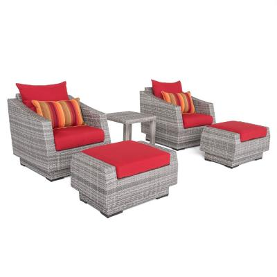 Cannes 5-Piece All-Weather Wicker Patio Club Chair and Ottoman Conversation Set with Sunset Red Cushions
