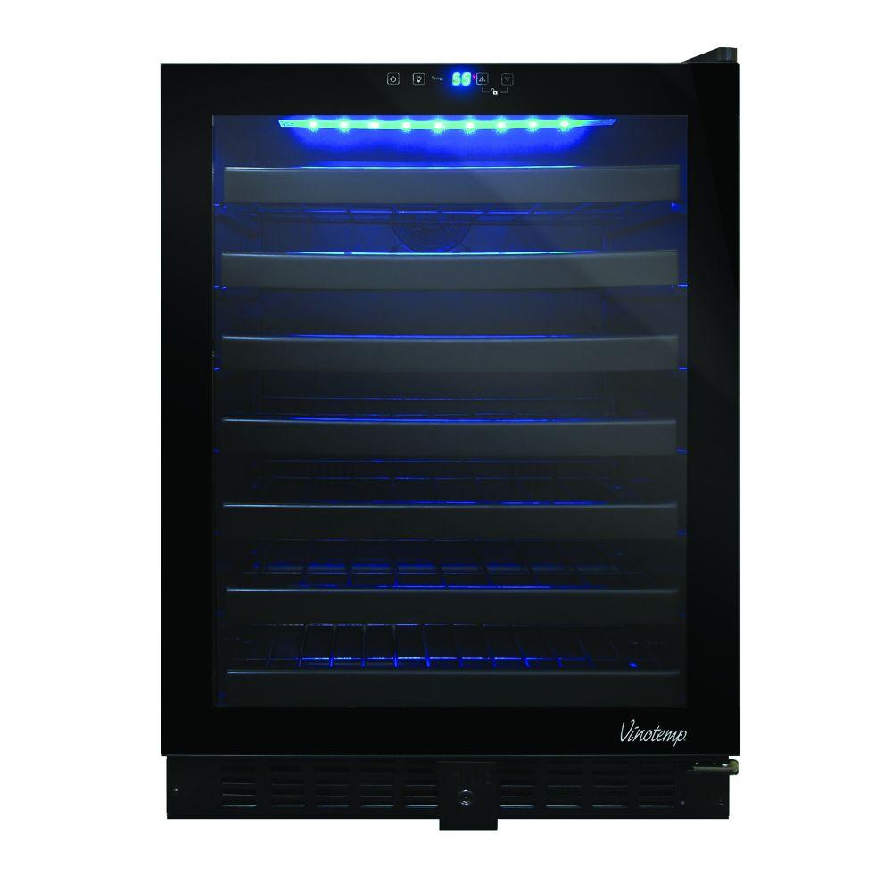 Vinotemp 54-Bottle Touch Screen Built in Wine Cooler, Black (VT-54TS)
