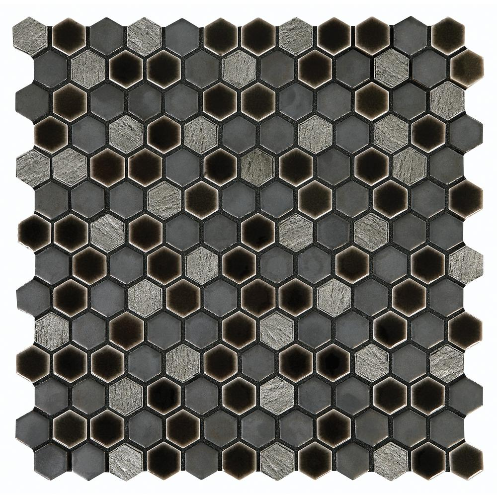 Marazzi Eclectic Vintage Crackled Metal 12 in. x 12 in. x 8 mm Porcelain Mosaic Floor and Wall Tile (0.89 sq. ft. / piece)