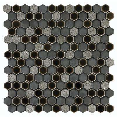 Eclectic Vintage Crackled Metal 12 in. x 12 in. x 8 mm Porcelain Mosaic Tile