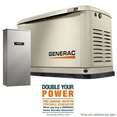 11,000-Watt (LP)/10,000-Watt (NG) Air Cooled Standby Generator with Whole House 200 Amp Automatic Transfer Switch