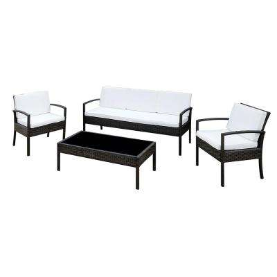 Bennett 4-Piece Outdoor Seating Set with White Cushions