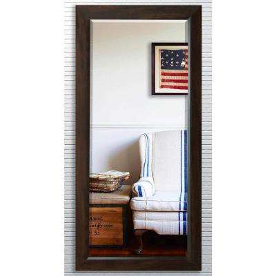 30.75 in. x 71.25 in. Dark Walnut Beveled Oversized Full Body Mirror