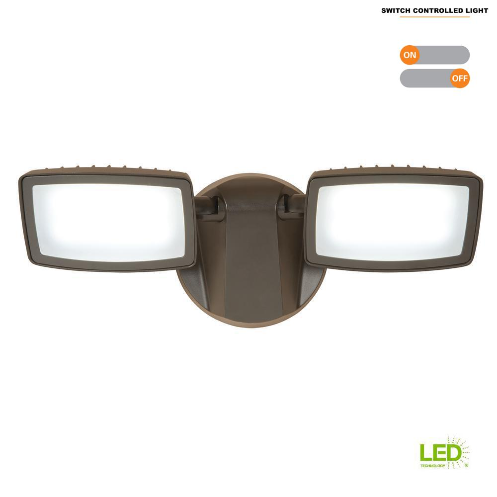 Halo Bronze Outdoor Integrated LED Twin-Head Security