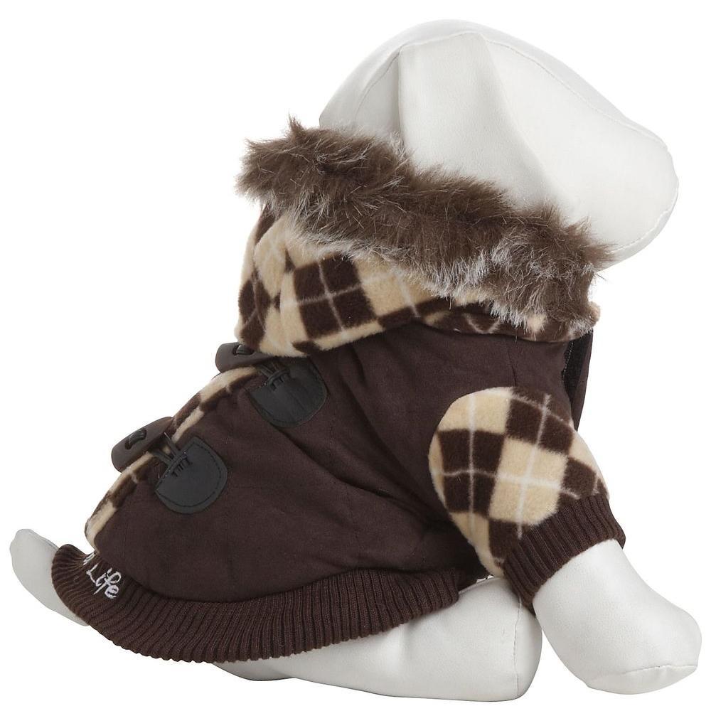 Large Brown Designer Patterned Jacket with Removable Hood