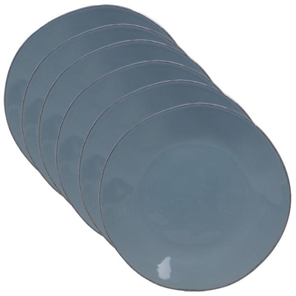 Harmony 6-Piece Traditional Teal Ceramic 9 in. Salad Plate Set (Service for 6)