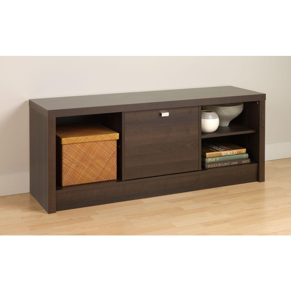 Prepac Series 9 Designer Cubbie Bench with Door in Espresso