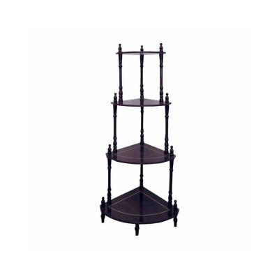"""20"""" L x 14.5"""" W x 39"""" H Cherry Brown Wooden Decorative 4-Tier Corner Shelves Stand with Turned Legs"""