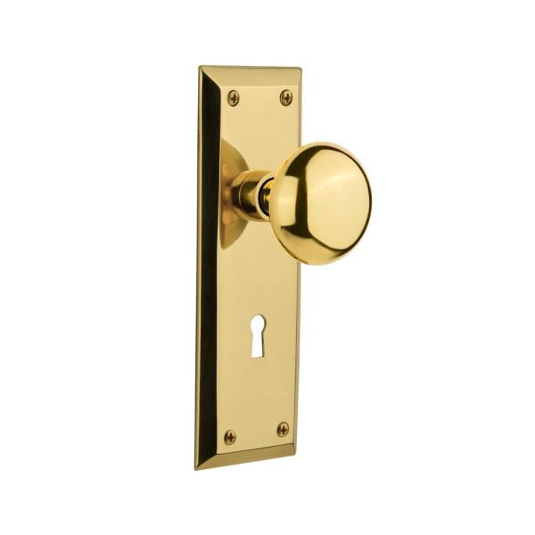 Nostalgic Warehouse New York Plate With Keyhole 2 3 8 In Backset Polished Brass Passage Hall Closet New York Door Knob 701106 The Home Depot