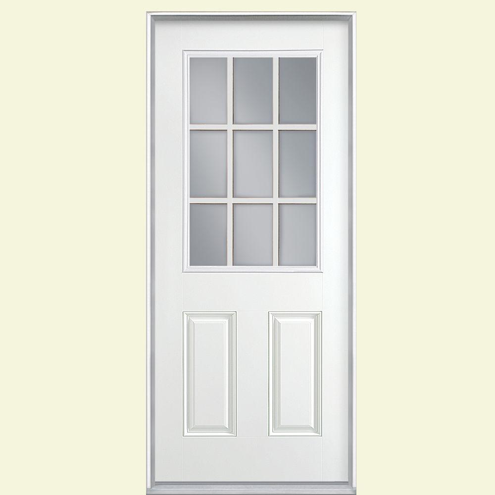 Merveilleux 9 Lite Right Hand Inswing Primed White Smooth Fiberglass Prehung Front Door,  Vinyl Frame 46187   The Home Depot