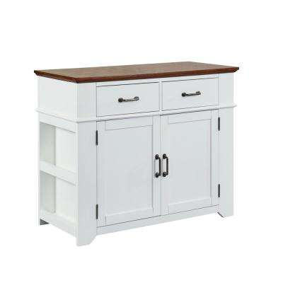 Milan White and Oak Buffet with 2-Drawers
