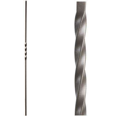Twist and Basket 44 in. x 0.5 in. Ash Grey Single Twist Hollow Wrought Iron Baluster