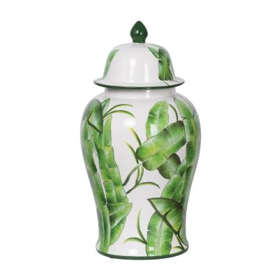 Lovise Palm Green and White Tall Lidded Urn