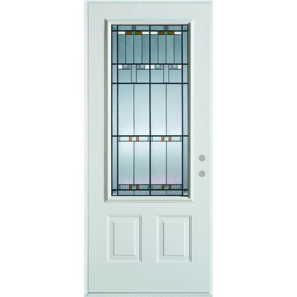36 in. x 80 in. Architectural 3/4 Lite 2-Panel Painted White Left-Hand Inswing Steel Prehung Front Door