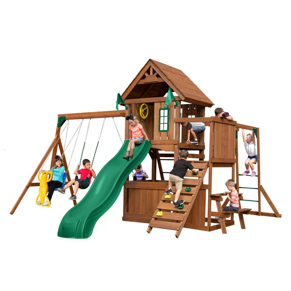Swing-N-Slide Playsets KnightsBridge Ultimate Wood Complete Swing Set with Wood Roof and Monkey Bars