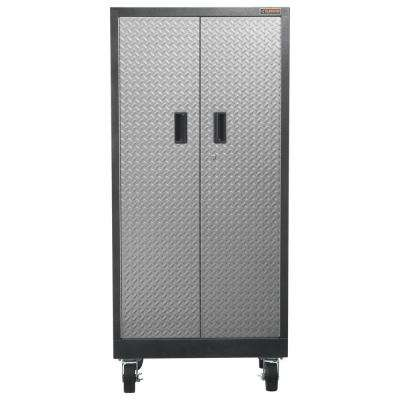 Premier Series Pre-Assembled 65 in. H x 30 in. W x 18 in. D 4-Shelf Steel Rolling Garage Cabinet in Silver Tread