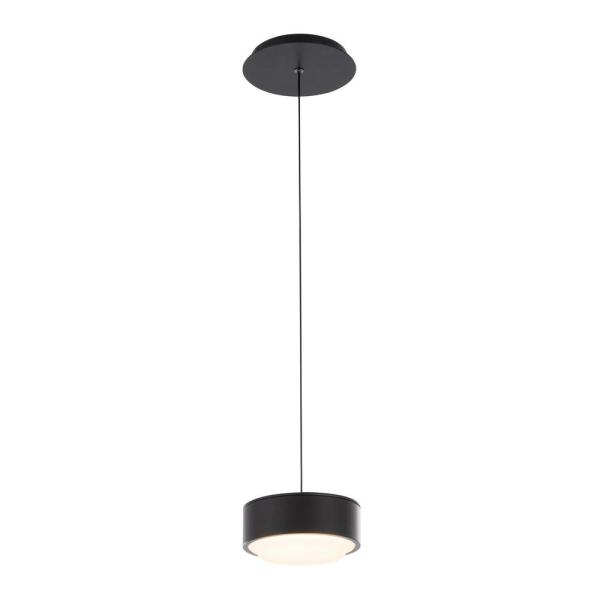 Ohm 6 in. 120-Watt Equivalent Integrated LED Black Pendant with Glass Shade