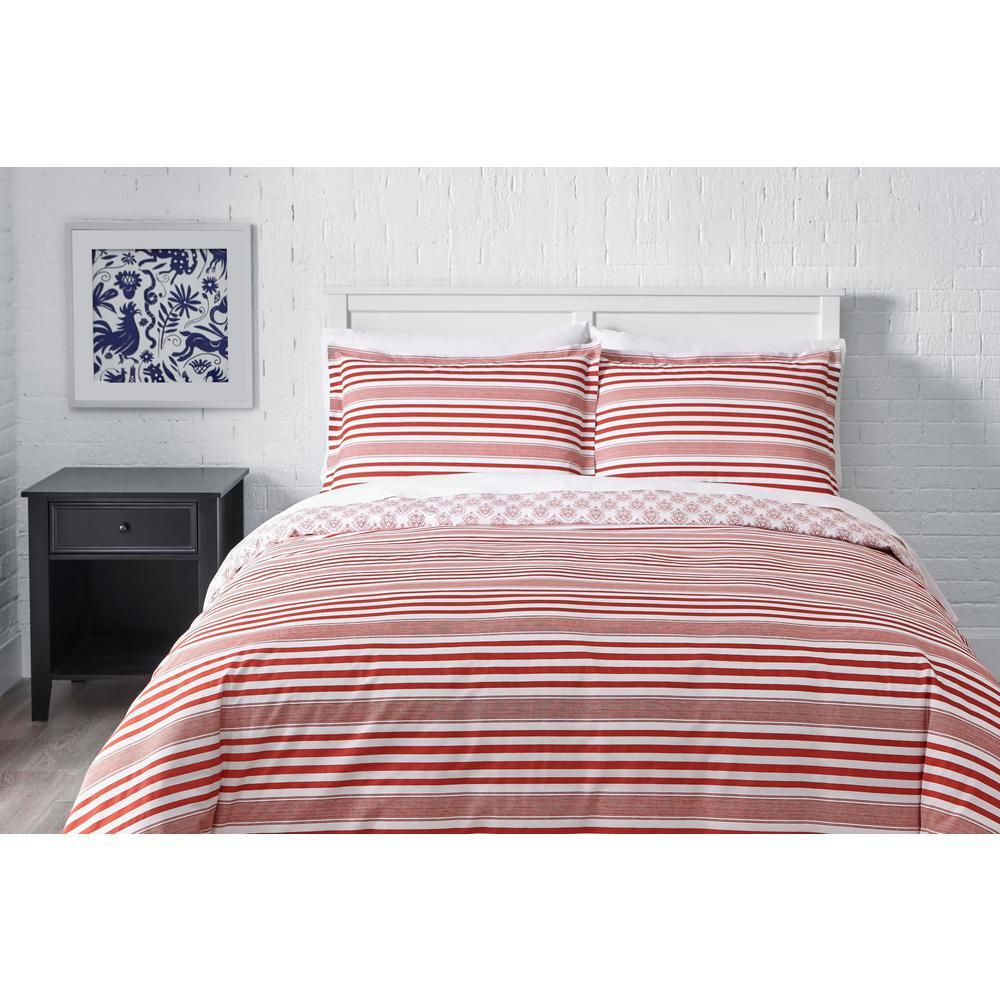Malcolm 3-Piece Stone Gray Stripe Duvet Cover Set