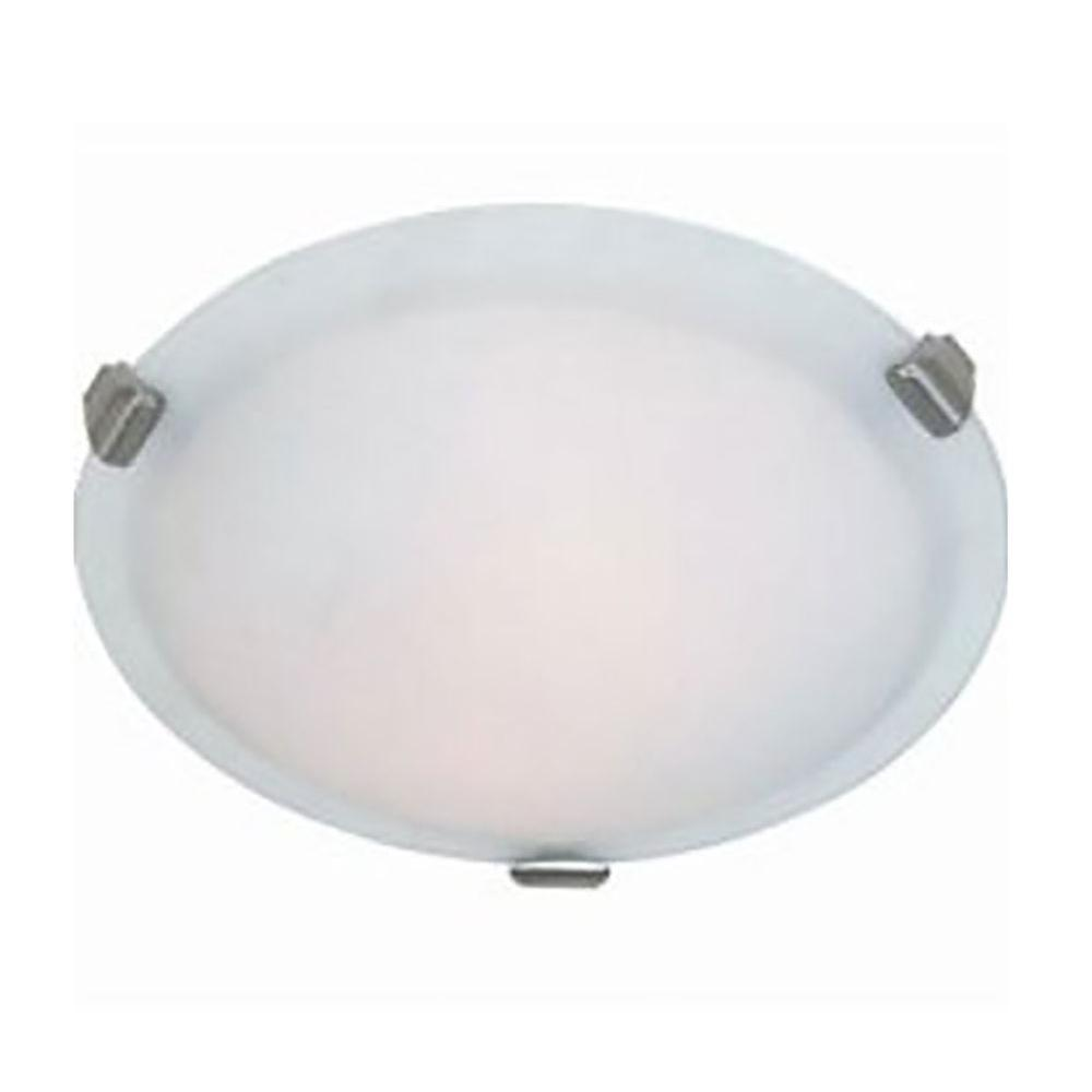ARTCRAFT Clip Flush 4-Light Chrome Flush Mount Large round flush mount with semi-clear white glass in brushed nickel finish