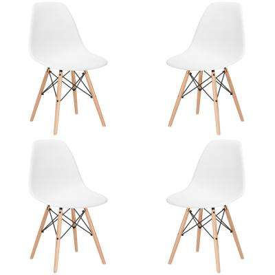 Vortex White Side Chair with Natural Legs (Set of 4)