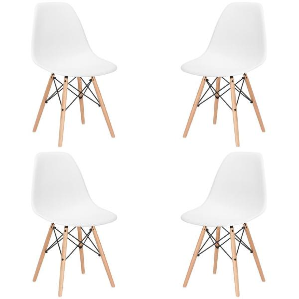 Poly and Bark Vortex White Side Chair with Natural Legs (Set of 4)