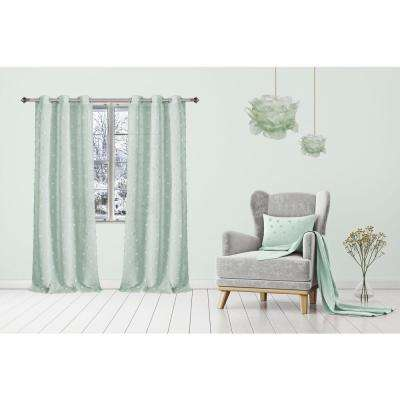 Snowball 38 in. W x 84 in. L Semi-Sheer Window Curtain Panel Pair in Sage (2-Pack)