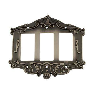 Victorian Switch Plate with Triple Rocker in Antique Pewter