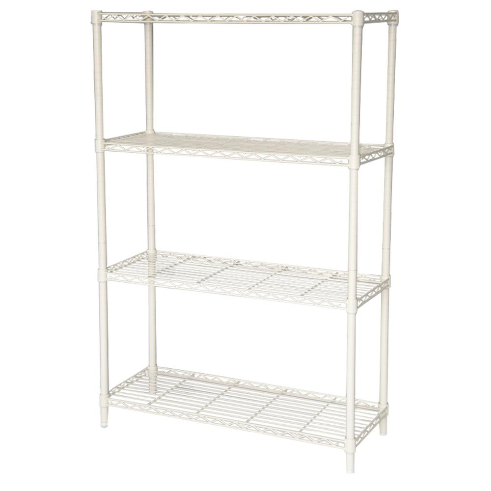 HDX 54 in. H x 36 in. W x 14 in. D 4-Tier Wire Shelving Unit in Ivory