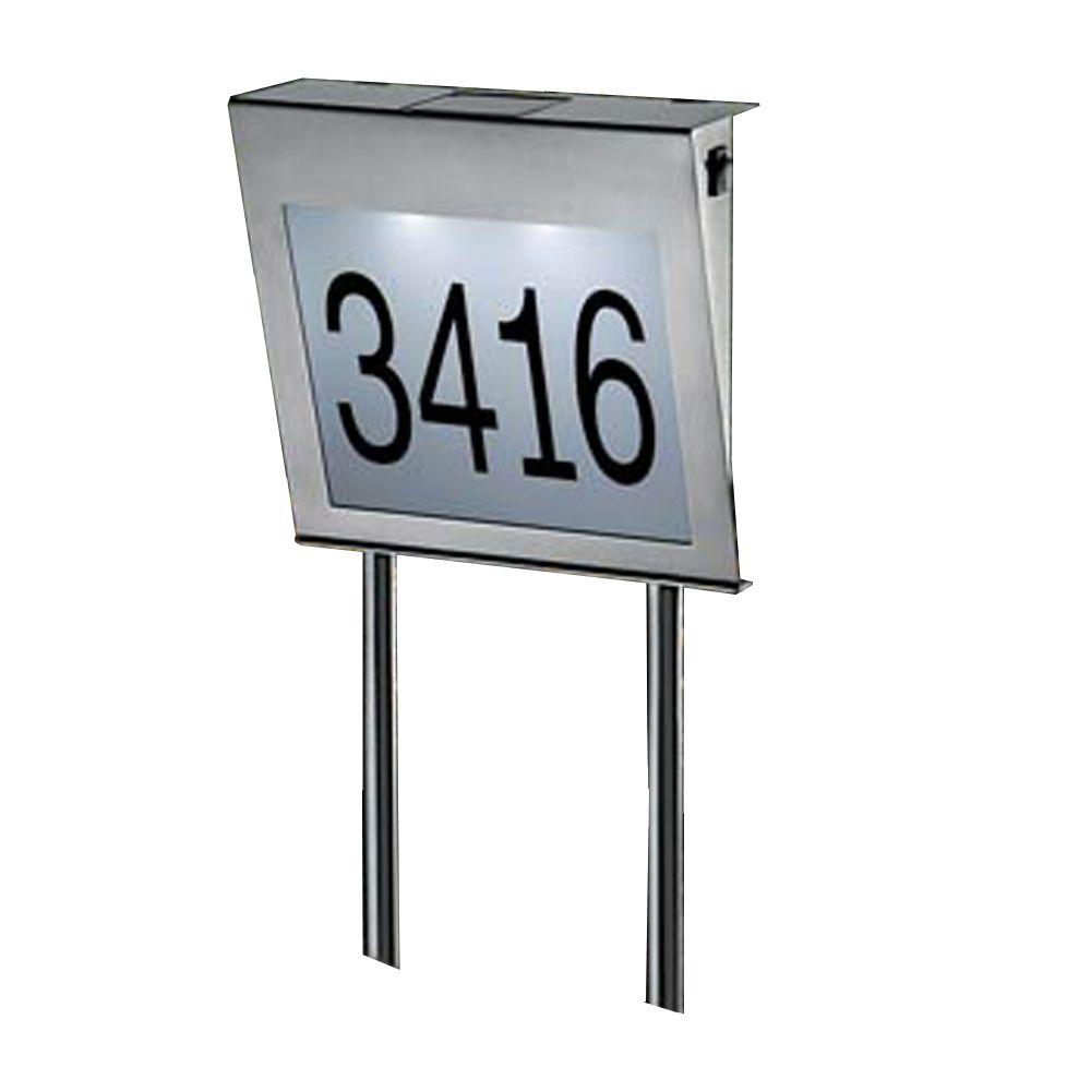 Unique Arts Solar LED Stainless Steel House Number with Spikes-DISCONTINUED
